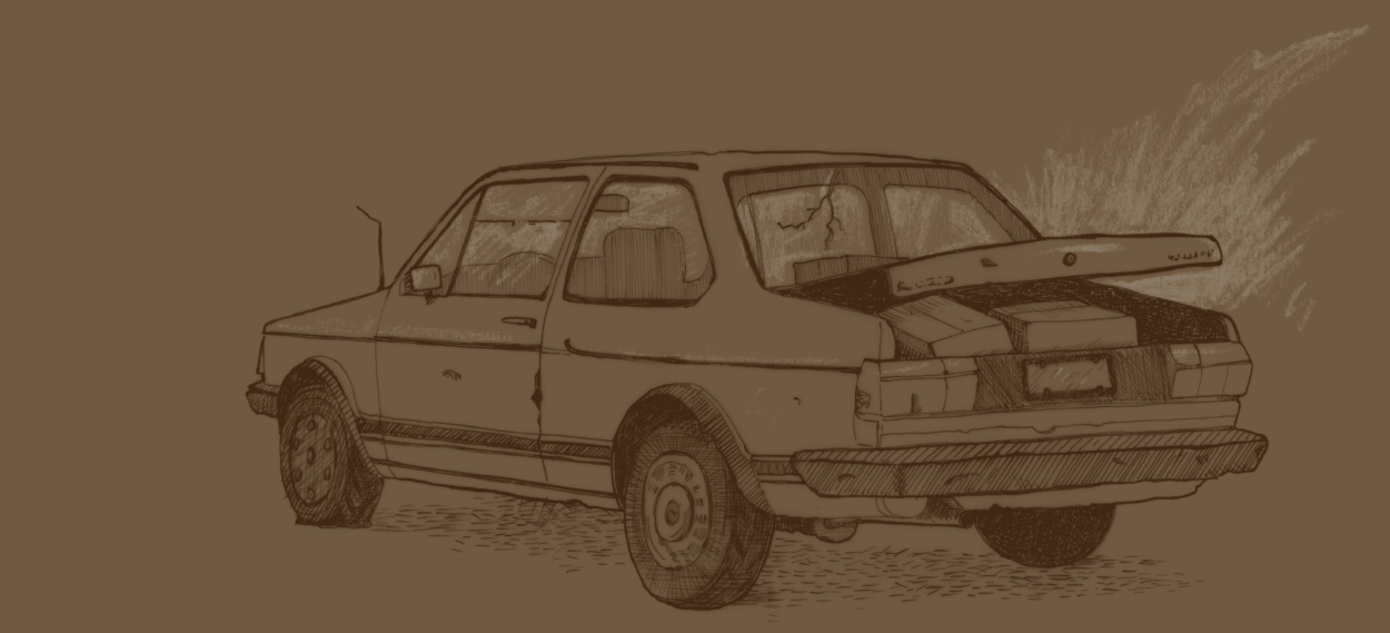 sketch of the old delivery vehicle